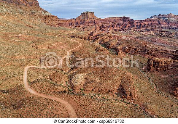 canyon road in Utah - aerial view - csp66316732