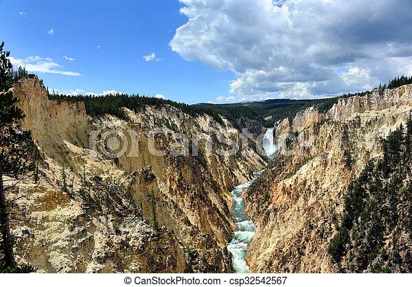 Canyon Walls and Lower Falls - csp32542567