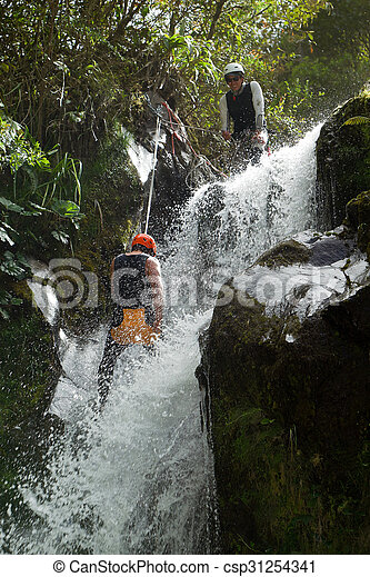 Canyoning Extreme Sport Professional Guide Stock Photo