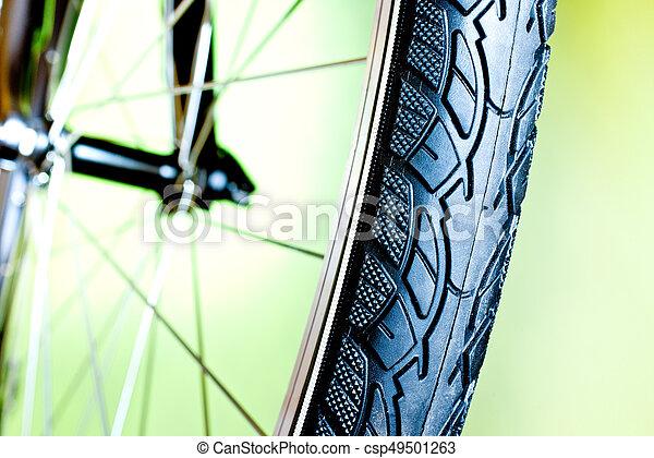 caoutchouc, nouveau, vélo, détail, pneu - csp49501263