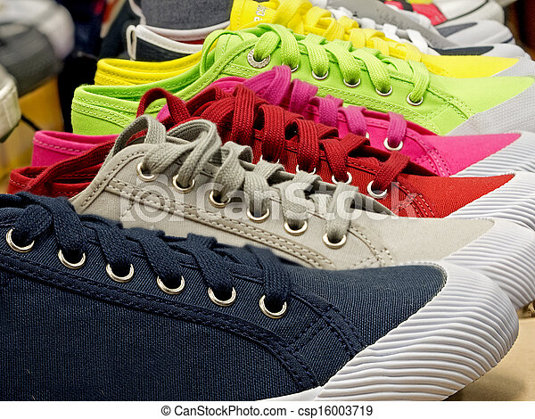 caoutchouc, toile, chaussures, coloré, sports - csp16003719