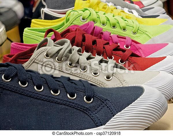 caoutchouc, toile, chaussures, coloré, sports - csp37120918