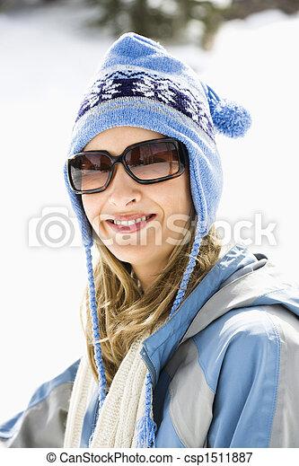 cap., frau, ski - csp1511887