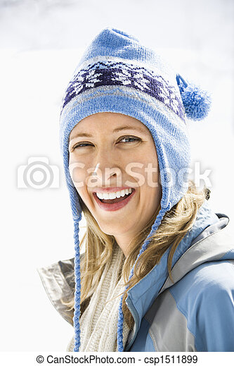 cap., frau, ski - csp1511899