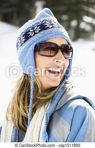 cap., frau, ski - csp1511893