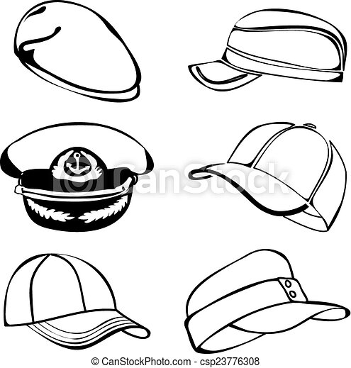 cap set isolated on white vector black art cap set isolated rh canstockphoto com police cap clipart black and white birthday cap clipart black and white