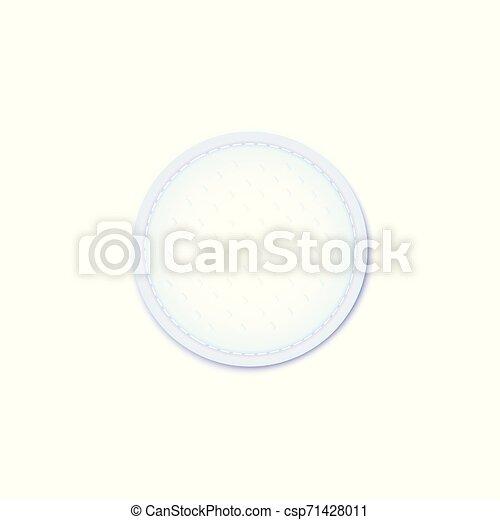 Cosméticos, almohadillas de algodón, capa exterior de capa material de superficie estiched borde vector. - csp71428011