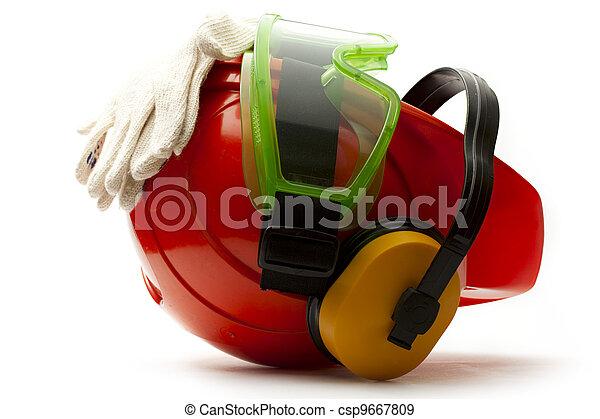 capacete, fones ouvido, óculos proteção, luvas, segurança, vermelho - csp9667809