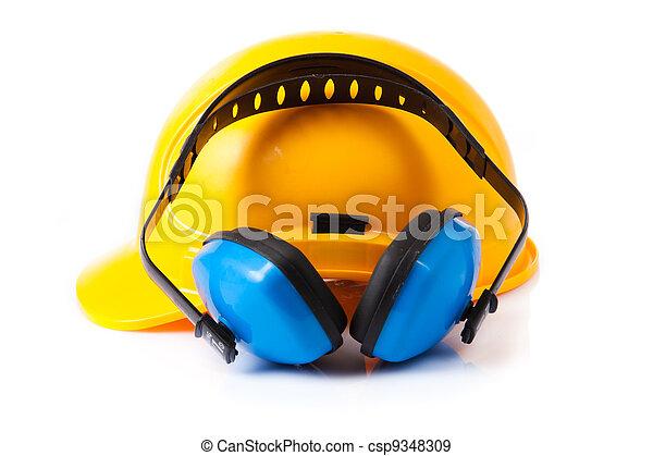 capacete, isolado, protection., plástico, segurança, ouvindo - csp9348309
