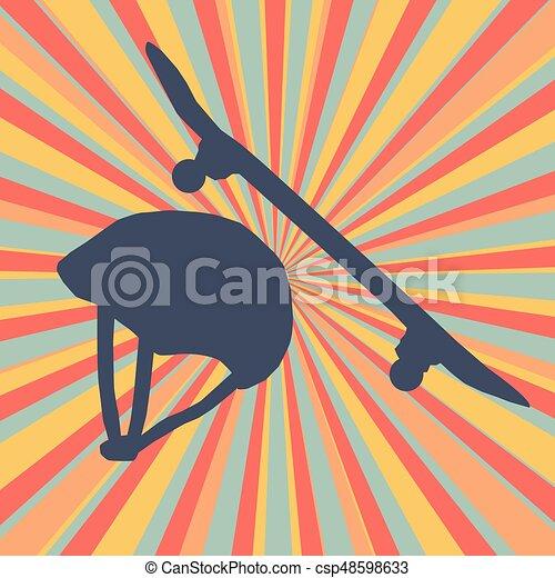 capacete, proteção, estouro, abstratos, skateboard, vetorial - csp48598633
