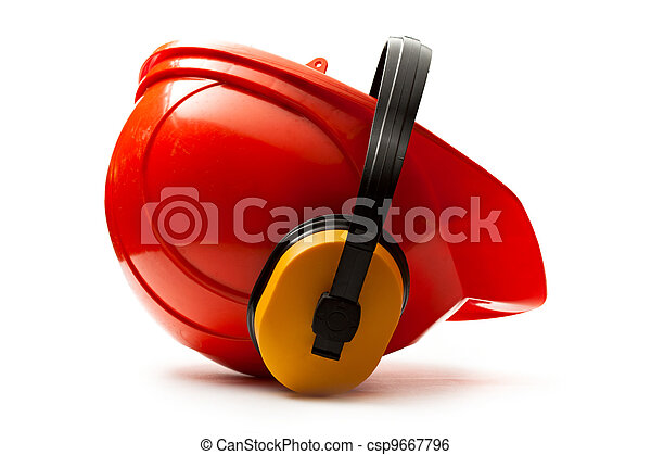 capacete, segurança, vermelho, fones ouvido - csp9667796