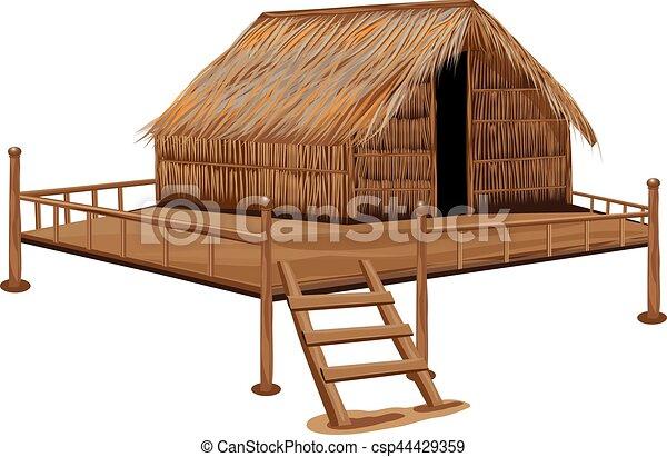 Capanna paglia vettore disegno tetto for Piani casa tetto a capanna