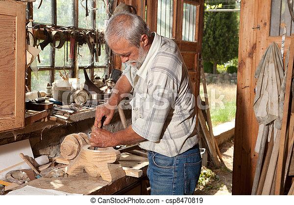 capannone, esperto, vecchio, carpentiere - csp8470819