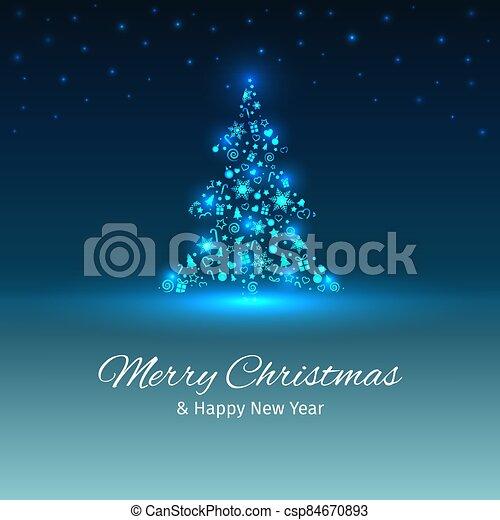 capas, árbol, lugar, texto, navidad, ilustración, tarjeta, bien, año, saludo, luces, nuevo, vector, organizado - csp84670893