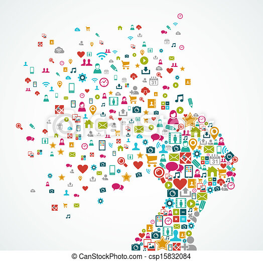 La silueta de la mujer hecha con iconos de las redes sociales salpica ilustraciones conceptuales. Archivo vectorial EPS10 organizado en capas para edición fácil. - csp15832084