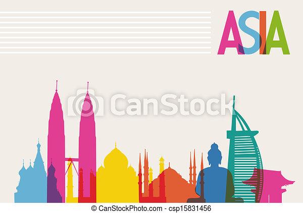 Monumentos de diversidad de Asia, famosos colores históricos transparencia. Archivo Vector organizado en capas para edición fácil. - csp15831456
