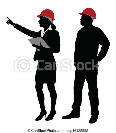 Ingeniero y capataz trabajando - csp16128882