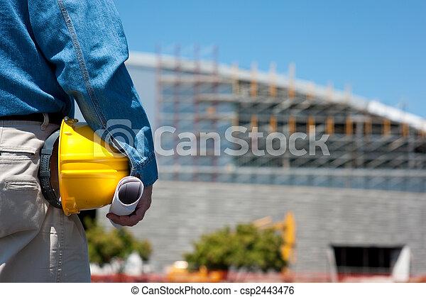 capataz, trabalhador construção, local, ou - csp2443476