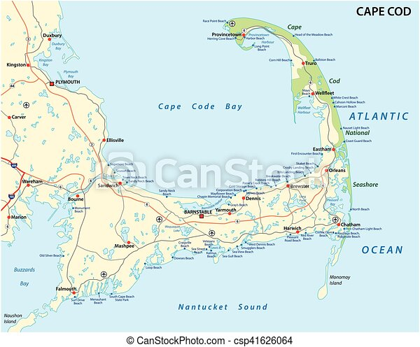 Cape cod beach map. Cape cod road and beach map.