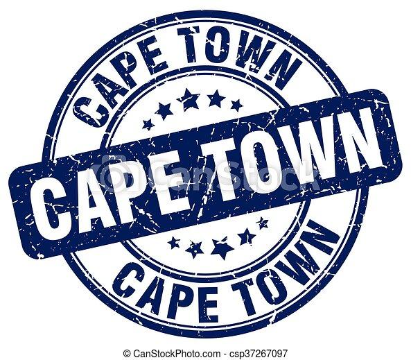 Cape Town blue grunge round vintage rubber stamp - csp37267097