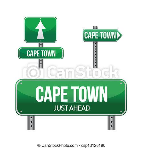 cape town city road sign - csp13126190