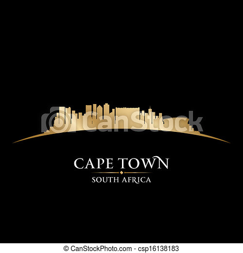 Cape Town South Africa city skyline silhouette. Vector illustration - csp16138183