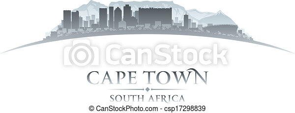 Cape Town South Africa city skyline silhouette. Vector illustration - csp17298839