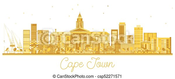 Cape Town South Africa City skyline golden silhouette. - csp52271571