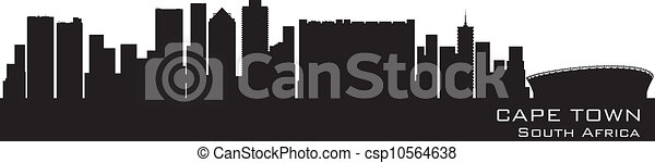 Cape Town, South Africa skyline. Detailed vector silhouette - csp10564638