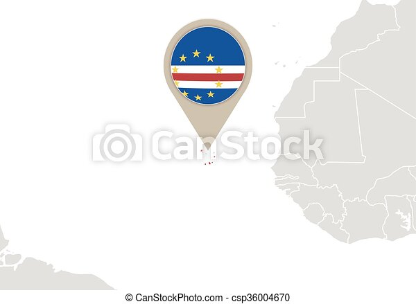 Cape Verde On World Map Africa With Highlighted Cape Verde Map And