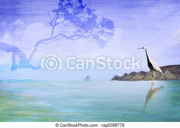 Cape with Heron and tree - csp0398779