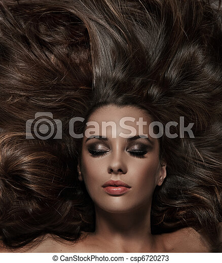 capelli, brunetta, bellezza, lungo - csp6720273