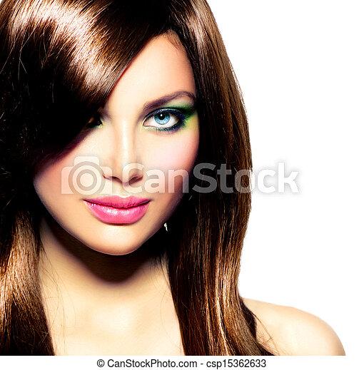 capelli brunetta, girl., marrone, sano, lungo, bello - csp15362633