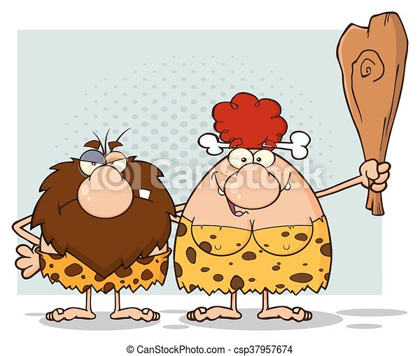 capelli, caveman, donna, coppia, rosso - csp37957674