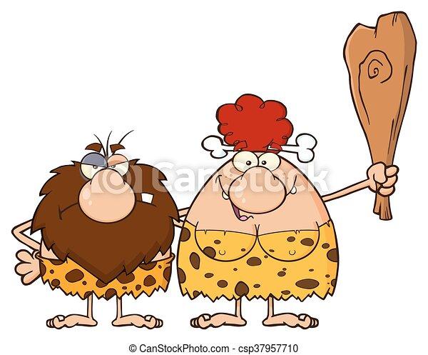 capelli, caveman, donna, coppia, rosso - csp37957710