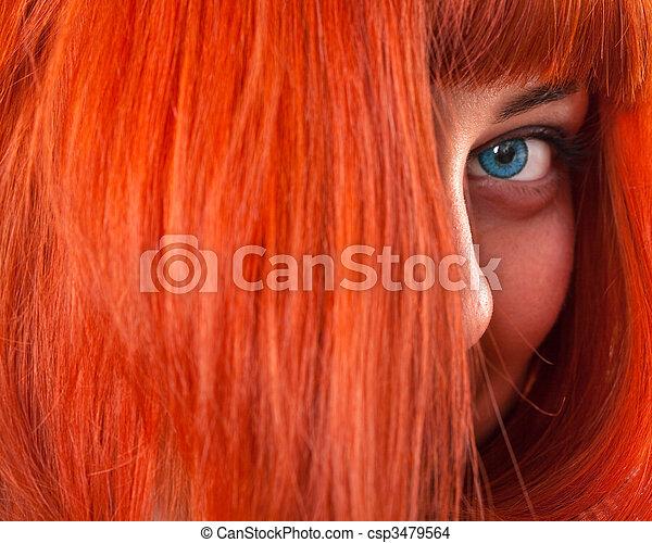 capelli, donna, beauttiful, rosso - csp3479564