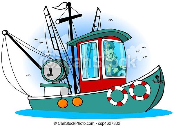 Capitaine Sien Bateau Depicts Sien Ceci Illustration Peche