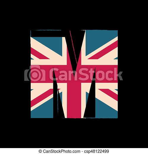 Capital 3d Letter M With Uk Flag Texture Isolated On Black Background Vector Illustration Element For Design Kids Alphabet Great Britain Patriotic Font