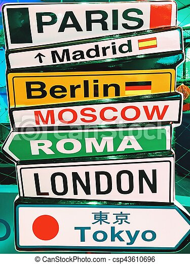 Capital Cities Arrow Sign Information - csp43610696