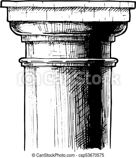 Capital Classical Order Tuscan Vector Hand Drawn