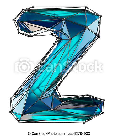 Capital latin letter Z in low poly style blue color isolated on white background - csp62784933