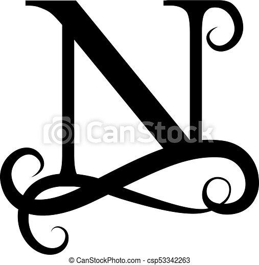Capital Letter For Monograms And Logos Beautiful Black Vector N Design Modern Element Logotype