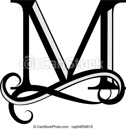 Capital Letter For Monograms And Logos Beautiful Black Vector M Design Modern Element Logotype On White Background
