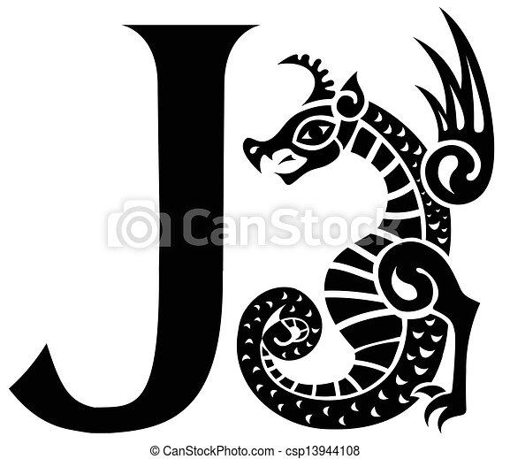 capital letter J with gargoyle - csp13944108