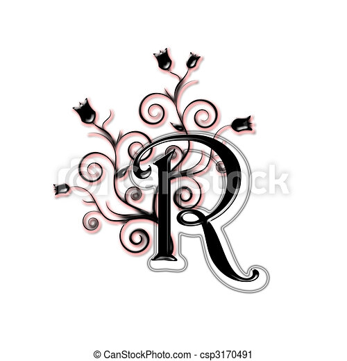 Capital Letter R Black With Flowers And Leaves Type