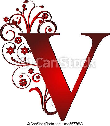 Capital letter v red.