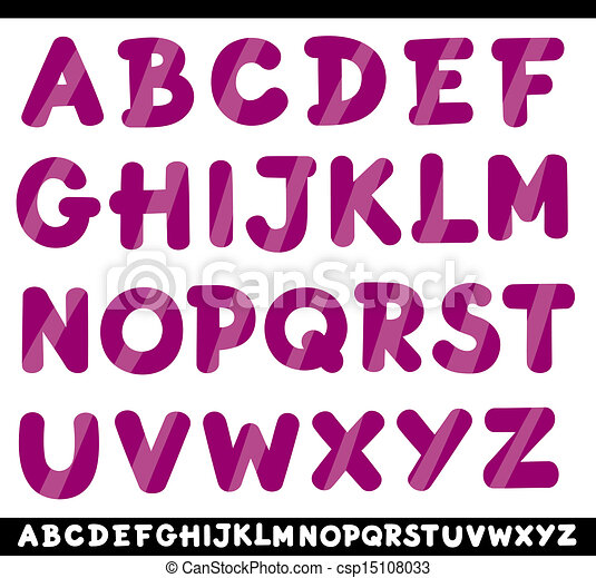 capital letters alphabet cartoon illustration - csp15108033