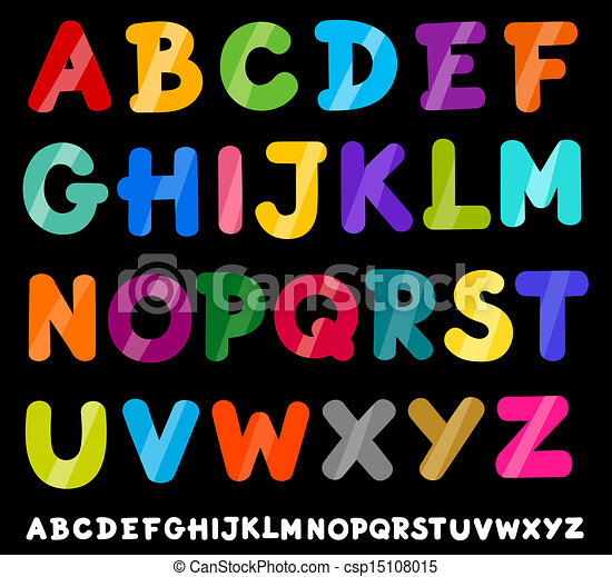 capital letters alphabet cartoon illustration - csp15108015