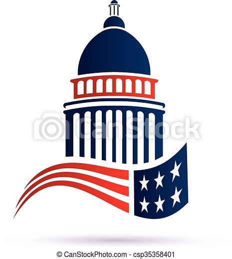 Capitol building logo with american flag. Vector design - csp35358401