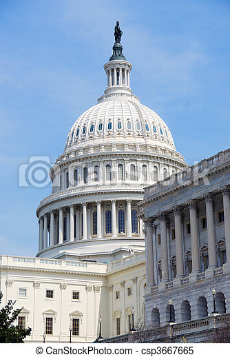Capitol Hill Building closeup, Washington DC - csp3667665